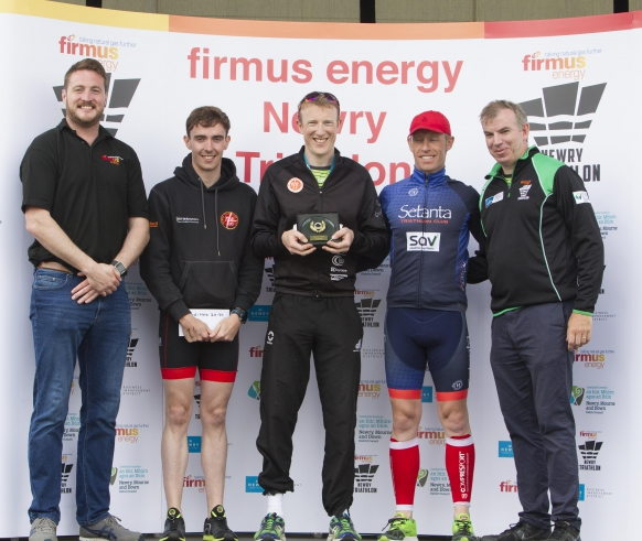 (L-R) Joe Diver, firmus energy is joined by competitors of the male race, Sean McDonnell (3rd place) Finbar McGrady (1st place), Peter Tomany (2nd place) and Eamonn Connolly, Manager of Newry Business Improvement District (BID).