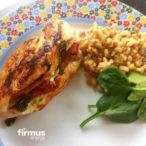 Image: stuffed chicken fillets on a plate - firmus energy recipe