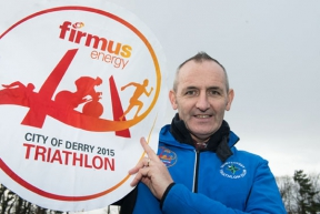 Image: Paul McGilloway launching firmus Derry Triathlon race
