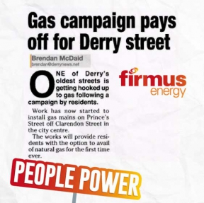 Image: newspaper clipping showing people power campaigning for natural gas in Derry