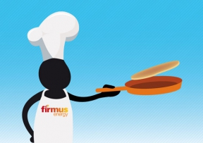Image: firmus 'frank' character flipping a pancake for pancake tuesday