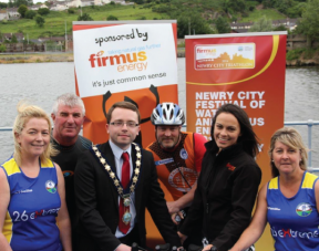 Image: Clodagh Loughran, Newry City Runner, Noel Pepper, Newry Triathlon Club, Mayor of Newry and Mourne District Council, Councillor Daire Hughes, Pat Conlon, Newry Triathlon Club, Angeline Sloan, firmus energy and Maureen O'Hara, Newry City Runner
